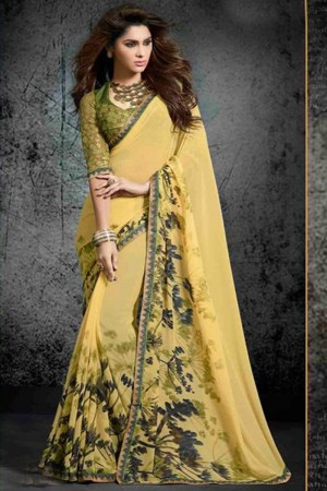 Enthralling Light_yellow Georgette Print with Lace Border Saree