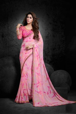 Luscious Light_pink Georgette Print with Lace Border Saree
