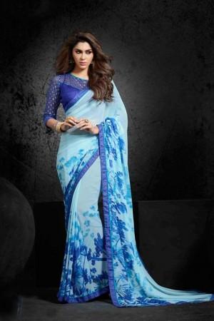 Glitzy Sky_blue Georgette Print with Lace Border Saree