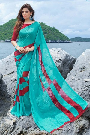 Desirable Turquoise Georgette Printed Saree