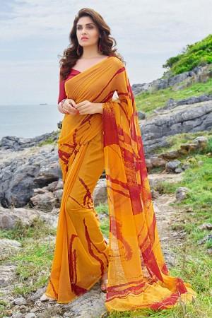 Designer Orange Georgette Printed Saree