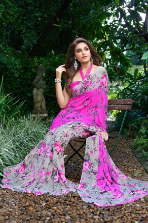Beguiling Pink Georgette Printed Saree