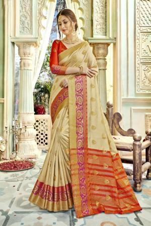 Exuberant Cream Art silk Printed  Saree