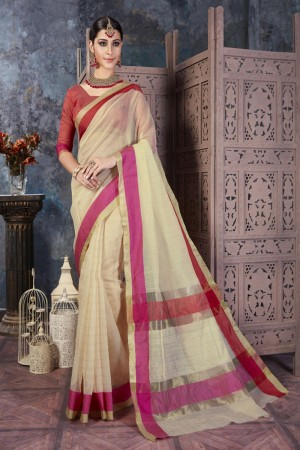 Trendy Cream Cotton Silk Printed  Saree