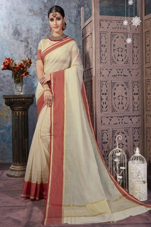 Charming Cream Cotton Silk Printed  Saree