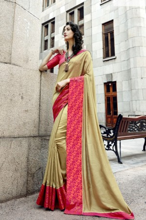 Versatile Cream Art silk Lace border Saree