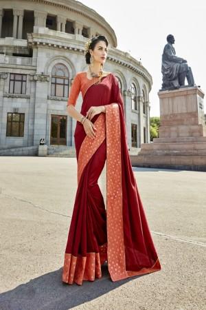Charming Maroon Art silk Lace border Saree