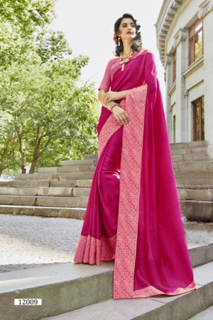 Exuberant Rani Pink Art silk Lace border Saree