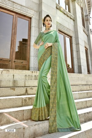 Awesome Pista Art silk Lace border Saree
