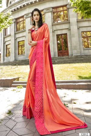 Breezy Orange Art silk Lace border Saree
