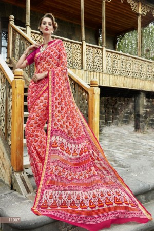 Delightful Pink Chiffon Printed  Saree