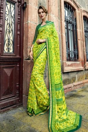 Awesome Lime green Chiffon Printed  Saree