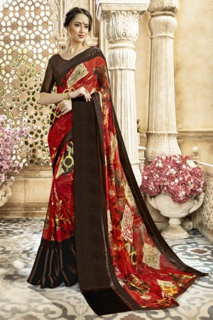Fashionable Red Georgette Satin Printed  Saree