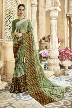 Charming Pista Georgette Satin Printed  Saree