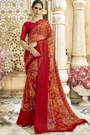 Versatile Red Georgette Satin Printed  Saree
