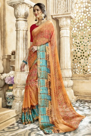 Dazzling Orange Georgette Satin Printed  Saree