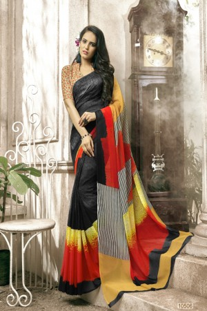 Beautiful Black Faux georgette Printed  Saree