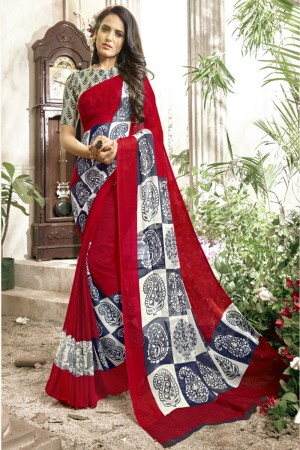 Modish Dark red Faux georgette Printed  Saree