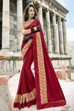 Graceful Maroon Silk Embroidery and Lace Border Saree Saree