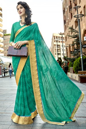 Ravishing Rama Georgette Printed  Saree