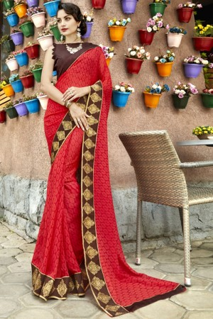 Sensuous Red Georgette Printed  Saree