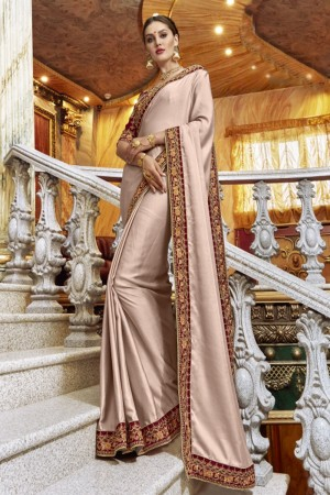 Dashing Peach Georgette Plain Saree