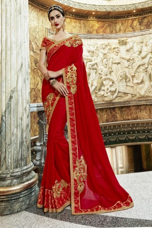 Trendy Red Georgette Patch work Saree