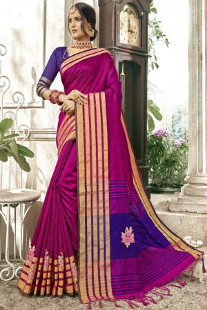 Delightful Rani Pink Cotton Silk Patch work Saree