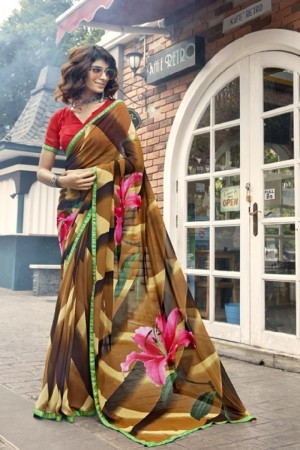 Trendy Multicolor Faux georgette Printed Saree
