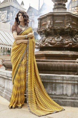 Exuberant Yellow Faux georgette Printed Saree
