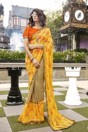 Charming Yellow Faux georgette Printed Saree