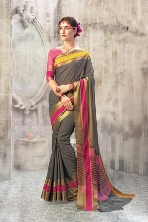 Modest Grey Cotton woven Printed  Saree