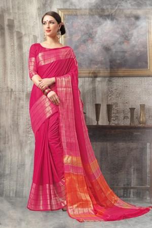 Lavish Pink Cotton woven Printed  Saree