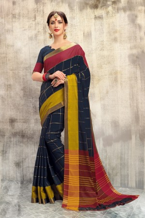 Lovely Dark Blue Cotton woven Printed  Saree
