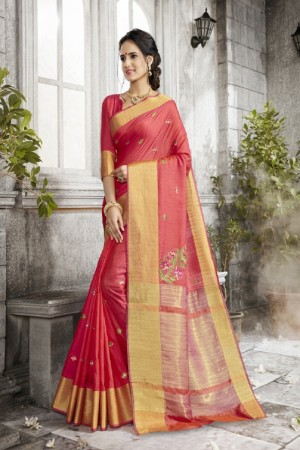 Breezy Peach Art silk Embroidery Saree