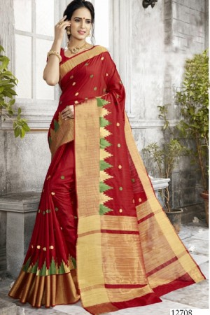 Exuberant Red Art silk Embroidery Saree