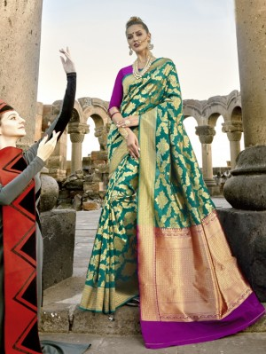 Delightful Rama Paper Silk Printed  Saree