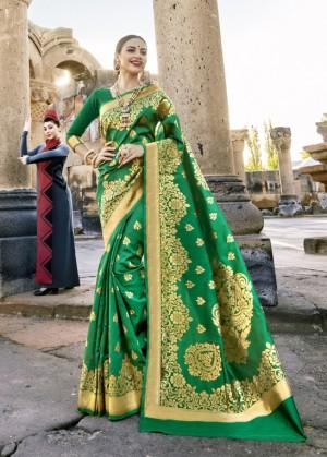 Dazzling Green Paper Silk Printed  Saree