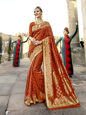 Exuberant Orange Paper Silk Printed  Saree