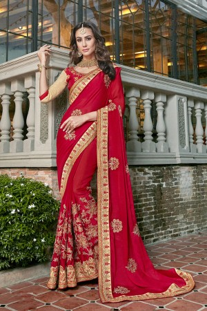 Desirable Red Georgette Embroidery and Lace Border