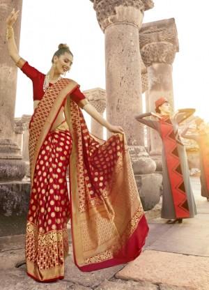 Breezy Red Paper Silk Printed  Saree