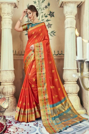 Breezy Orange Art silk Printed  Saree