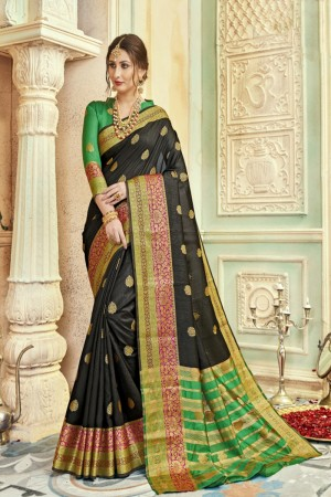 Versatile Black Art silk Printed  Saree