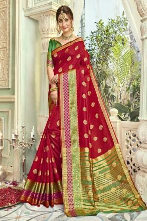 Delightful Dark Red Art silk Printed  Saree