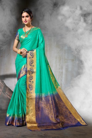 Versatile Light Green  Nylon Silk Jacquard  Saree