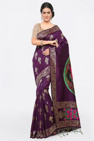 Classy Purple Banarasi Silk Weave Work Saree
