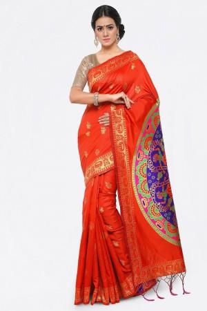Designer Orange Banarasi Silk Weave Work Saree