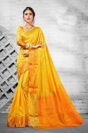 Delightful Yellow  Nylon Silk Jacquard  Saree
