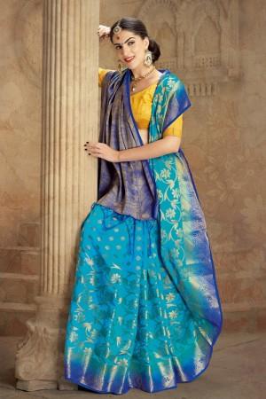 Aesthetic Sky Nylon Soft Silk Jacquard  Saree