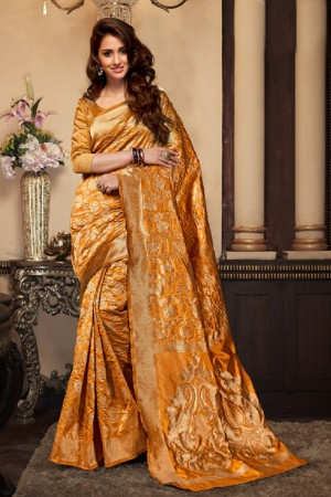 Disha patani Yellow Kanjeevaram Art Silk Jacquard Banarasi Designer Sarees